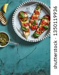 grilled eggplant with tomatoes... | Shutterstock . vector #1350119936