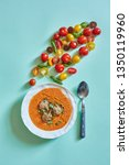 tomato cream soup with meat... | Shutterstock . vector #1350119960