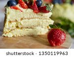 pictachio leyer cake with... | Shutterstock . vector #1350119963