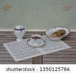 english teacup with saucer ... | Shutterstock . vector #1350125786
