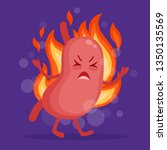 stomach heartburn cartoon... | Shutterstock .eps vector #1350135569
