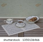 english teacup with saucer ... | Shutterstock . vector #1350136466
