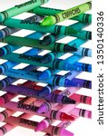multi colored crayons stacked... | Shutterstock . vector #1350140336