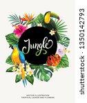 tropical hawaiian flyer with... | Shutterstock .eps vector #1350142793