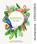 tropical hawaiian flyer with... | Shutterstock .eps vector #1350142823
