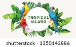 tropical hawaiian flyer with... | Shutterstock .eps vector #1350142886