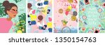 spring  cute vector... | Shutterstock .eps vector #1350154763
