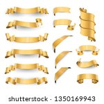 realistic gold glossy vector... | Shutterstock .eps vector #1350169943
