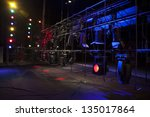 stage lights on a console  smoke | Shutterstock . vector #135017864