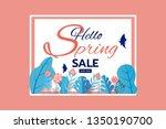 paper art style. spring sale... | Shutterstock .eps vector #1350190700