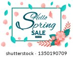 paper art style. spring sale... | Shutterstock .eps vector #1350190709