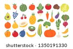 fruits and vegetables. flat... | Shutterstock .eps vector #1350191330