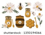 a honey set of bee  honey ... | Shutterstock .eps vector #1350194066