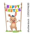 happy easter greeting card with ... | Shutterstock .eps vector #1350194630