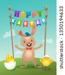 happy easter greeting card with ... | Shutterstock .eps vector #1350194633
