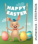 happy easter greeting card with ... | Shutterstock .eps vector #1350194636