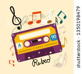audio cassette tape with notes  ... | Shutterstock .eps vector #1350198479