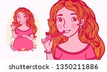 pretty pregnant woman is... | Shutterstock .eps vector #1350211886