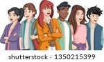 group of cartoon young people.... | Shutterstock .eps vector #1350215399