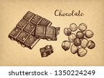 bar of milk chocolate with... | Shutterstock .eps vector #1350224249