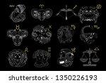 vector set of white outline... | Shutterstock .eps vector #1350226193