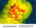liquid colorful paint... | Shutterstock . vector #1350231479