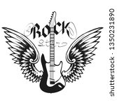 rock wings music print  vintage ... | Shutterstock .eps vector #1350231890