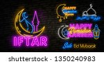 iftar party neon sign. glowing... | Shutterstock .eps vector #1350240983