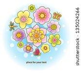 fine summer bouquet with...   Shutterstock .eps vector #135024266