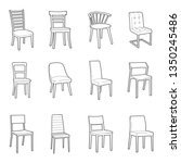 dinning chair simple outline... | Shutterstock .eps vector #1350245486