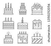 cake birthday icons set....