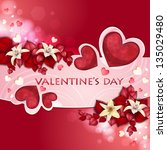 valentine's day card with... | Shutterstock . vector #135029480