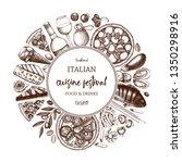 italian food and drinks art.... | Shutterstock .eps vector #1350298916