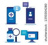 set technology medical service... | Shutterstock .eps vector #1350304280