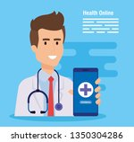 man doctor with stethoscope and ... | Shutterstock .eps vector #1350304286