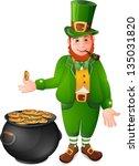 leprechaun with cauldron full... | Shutterstock . vector #135031820