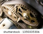 serpentine belt engine mechanism | Shutterstock . vector #1350335306