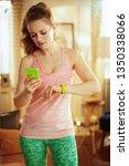 healthy woman in fitness...   Shutterstock . vector #1350338066