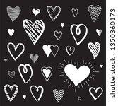 set of heart doodles. hand... | Shutterstock .eps vector #1350360173
