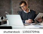multi tasking businessman... | Shutterstock . vector #1350370946