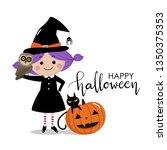 happy halloween greeting card... | Shutterstock .eps vector #1350375353