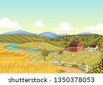 cartoon farmer in front of... | Shutterstock .eps vector #1350378053
