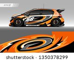 racing car wrap design vector.... | Shutterstock .eps vector #1350378299