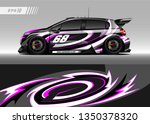 racing car wrap design vector.... | Shutterstock .eps vector #1350378320