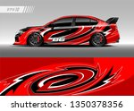 racing car wrap design vector.... | Shutterstock .eps vector #1350378356