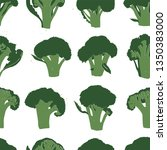 print with broccoli. linocut... | Shutterstock .eps vector #1350383000