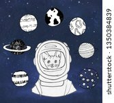 animals cat  in space  in a... | Shutterstock . vector #1350384839