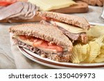 fresh roast beef sandwich with... | Shutterstock . vector #1350409973
