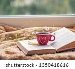 hot coffee in the background of ... | Shutterstock . vector #1350418616