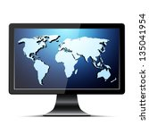 lcd tv with blue world map.... | Shutterstock .eps vector #135041954